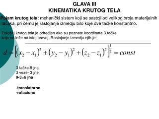 GLAVA III KINEMATIKA KRUTOG TELA