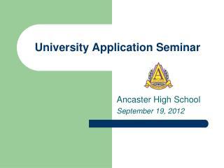 University Application Seminar