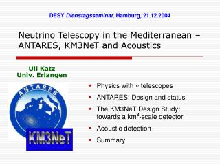 Neutrino Telescopy in the Mediterranean – ANTARES, KM3NeT and Acoustics
