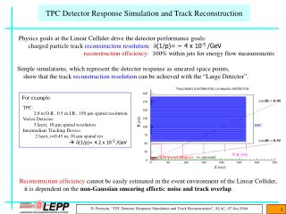 TPC Detector Response Simulation and Track Reconstruction