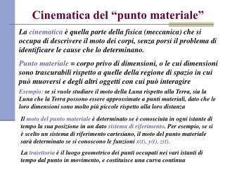"""Cinematica del """"punto materiale"""""""