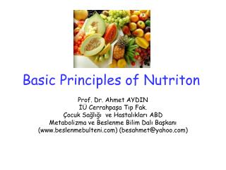 Basic Principles of Nutriton
