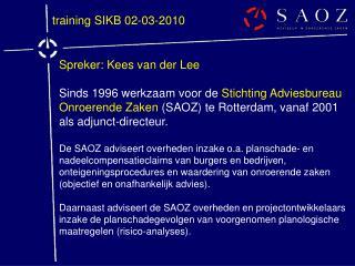 Spreker: Kees van der Lee