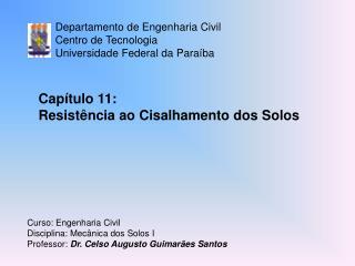 Departamento de Engenharia Civil Centro de Tecnologia Universidade Federal da Paraíba