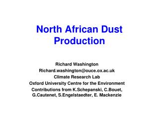 North African Dust Production