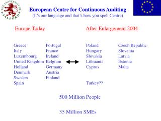 European Centre for Continuous Auditing (It�s our language and that�s how you spell Centre)