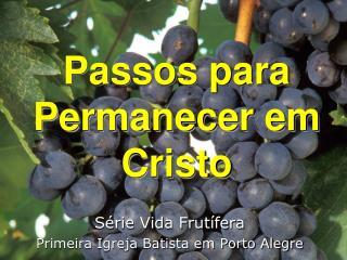 Passos para Permanecer em Cristo