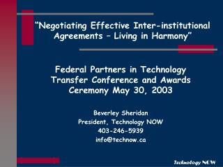 """Negotiating Effective Inter-institutional Agreements – Living in Harmony"""