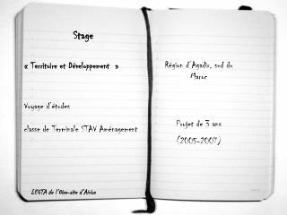 Stage  «Territoire et Développement» Voyage d'études  classe de Terminale STAV Aménagement