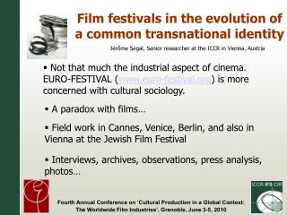 Film festivals in the evolution of a common transnational identity