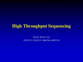 High Throughput Sequencing