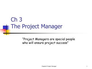 Ch 3 The Project Manager