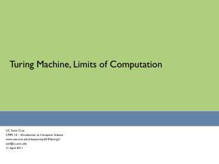 Turing Machine, Limits of Computation