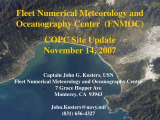 Fleet Numerical Meteorology and Oceanography Center  (FNMOC)  COPC Site Update November 14, 2007