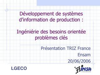 Présentation TRIZ France Ensam 20/06/2006