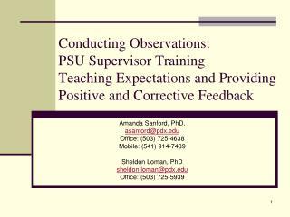 Amanda Sanford, PhD. asanford@pdx Office: (503) 725-4638 Mobile: (541) 914-7439