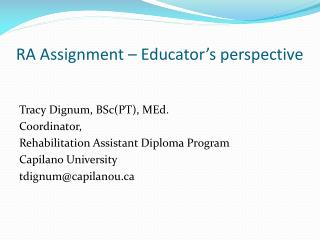RA Assignment – Educator's perspective