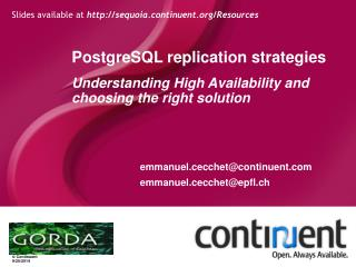 PostgreSQL replication strategies Understanding High Availability and choosing the right solution