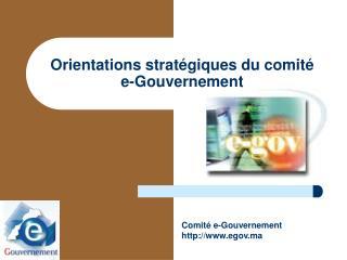 Orientations stratégiques du comité  e-Gouvernement