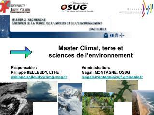Master Climat, terre et  sciences de l'environnement