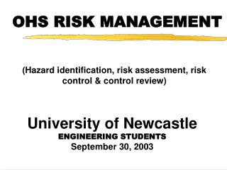 OHS RISK MANAGEMENT