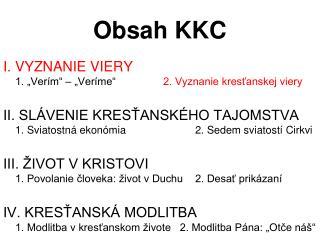 Obsah KKC