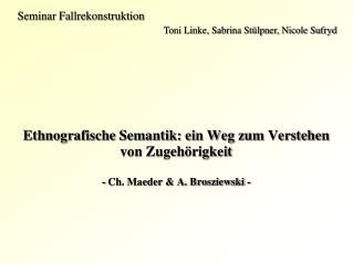 Seminar Fallrekonstruktion