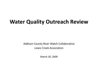 Water Quality Outreach Review