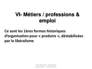 VI- Métiers  / professions & emploi