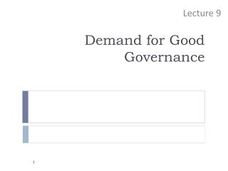 Demand for Good Governance