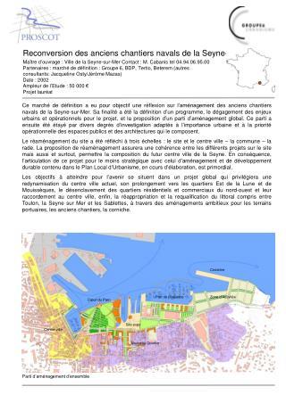 Maître d'ouvrage : Ville de la Seyne-sur-Mer Contact : M. Cabanis tel 04.94.06.95.00