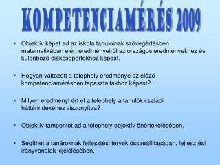 KOMPETENCiaMÉRÉS 2009