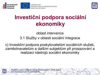 Investiční podpora sociální ekonomiky