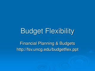 Budget Flexibility