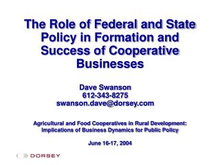 The Role of Federal and State Policy in Formation and Success of Cooperative Businesses