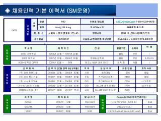 ◈  채용인력 기본 이력서  (SM 운영 )
