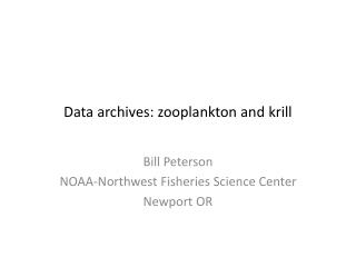 Data archives: zooplankton and krill