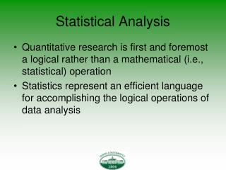 Statistical Analysis
