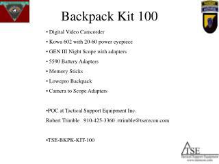 Backpack Kit 100
