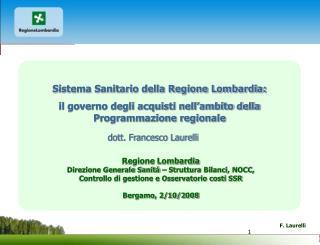 Sistema Sanitario della Regione Lombardia: