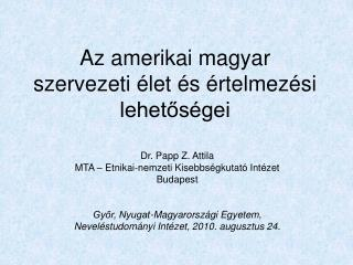 Az amerikai magyar szervezeti élet és értelmezési lehetőségei