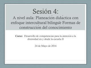 Curso:   Desarrollo de competencias para la atención a la diversidad en y desde la escuela II