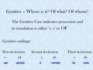 Genitive – Whose is it? Of what? Of whom?