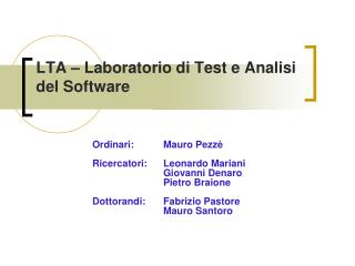 LTA – Laboratorio di Test e Analisi del Software