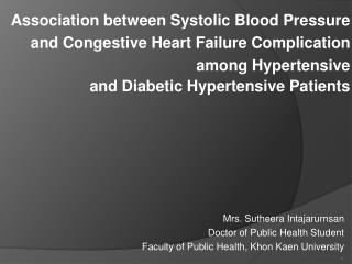 Association between Systolic Blood Pressure  and Congestive Heart Failure Complication