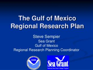 The Gulf of Mexico  Regional Research Plan