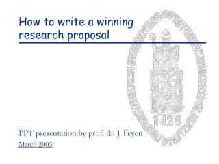 How to write a winning  research proposal