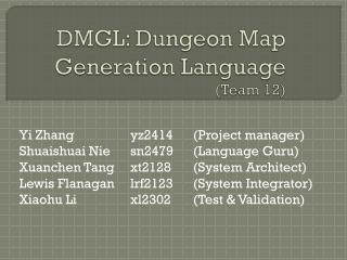 DMGL: Dungeon Map Generation Language (Team 12)