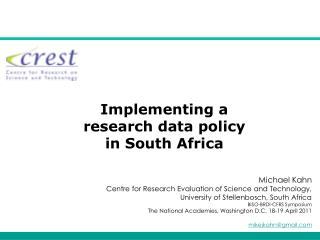 Implementing a research data policy in South Africa