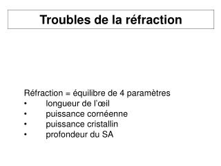 Troubles de la réfraction